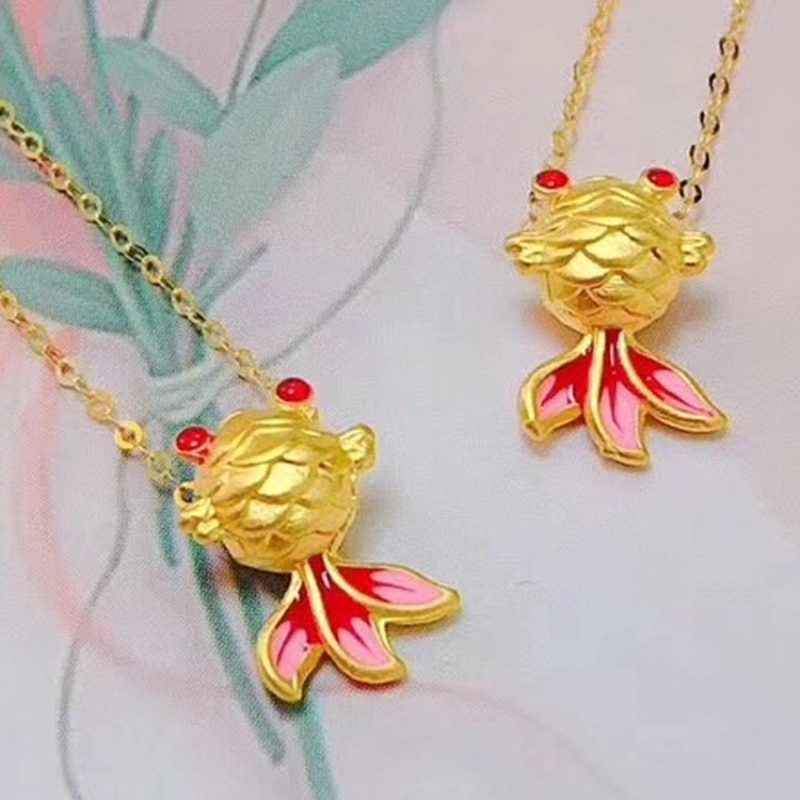 1PCS Pure 999 24K Yellow Gold Pendant 3D Colorful Enamel Goldfish Bead Very Small