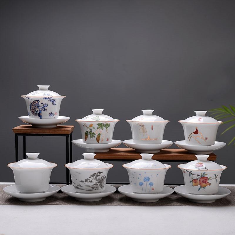 عالية الجودة Gaiwan الأبيض الخزف الكونغ فو درينكوير السفر شاي سيراميك وعاء مع غطاء الصينية مكتب فنجان الشاي الإبداعية مج مياه