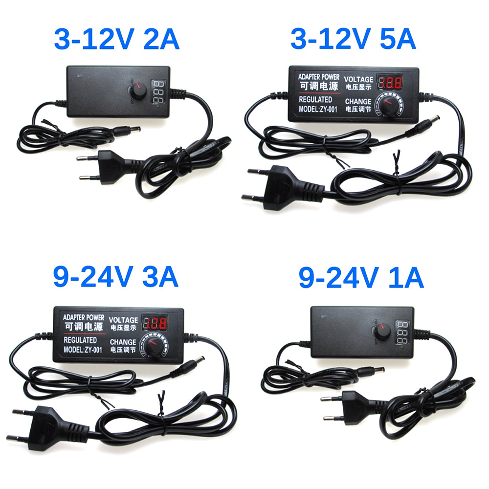 adjustable ac to dc 3v 12v 3v 24v 9v 24v universal adapter with display screen voltage regulated power supply adatpor 3v 12v 24v AC DC Adjustable Power Supply 3V 5V 6V 9V 12V 15V 18V 24V 1A 2A 5A AC/DC Led Driver Power Supply Adapter 220V To 12V 24V 12 24 V