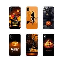 Feliz Halloween tela calabaza del teléfono móvil de la cubierta de la piel para Apple iPhone X XR XS 11Pro MAX 4S 5S 5C SE 6 6S 7 7 Plus ipod touch 5 6