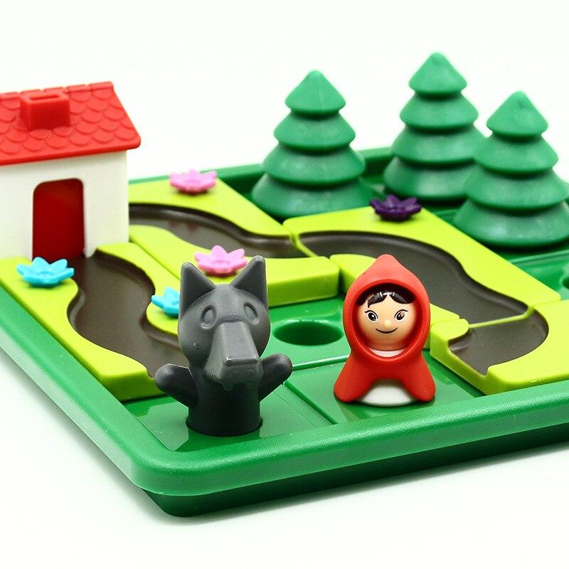 أحجية للأطفال من سن 3 إلى 6 سنوات ، لعبة لوح ، غطاء محرك السيارة الأحمر الصغير ، ذئب الأخشاب
