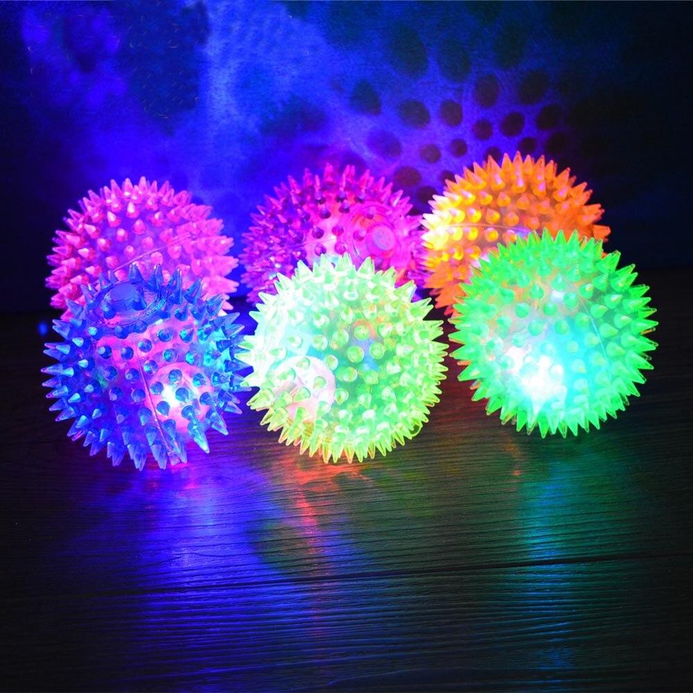 Flash ilumina pelotas con gran rebote novedad encantadores cachorros perro gato erizo mascota pelota de goma creativo divertido juguete
