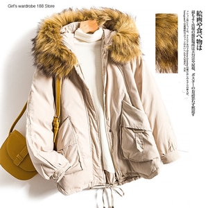 Winter high-end long sleeve pocket zipper hooded short cotton coat