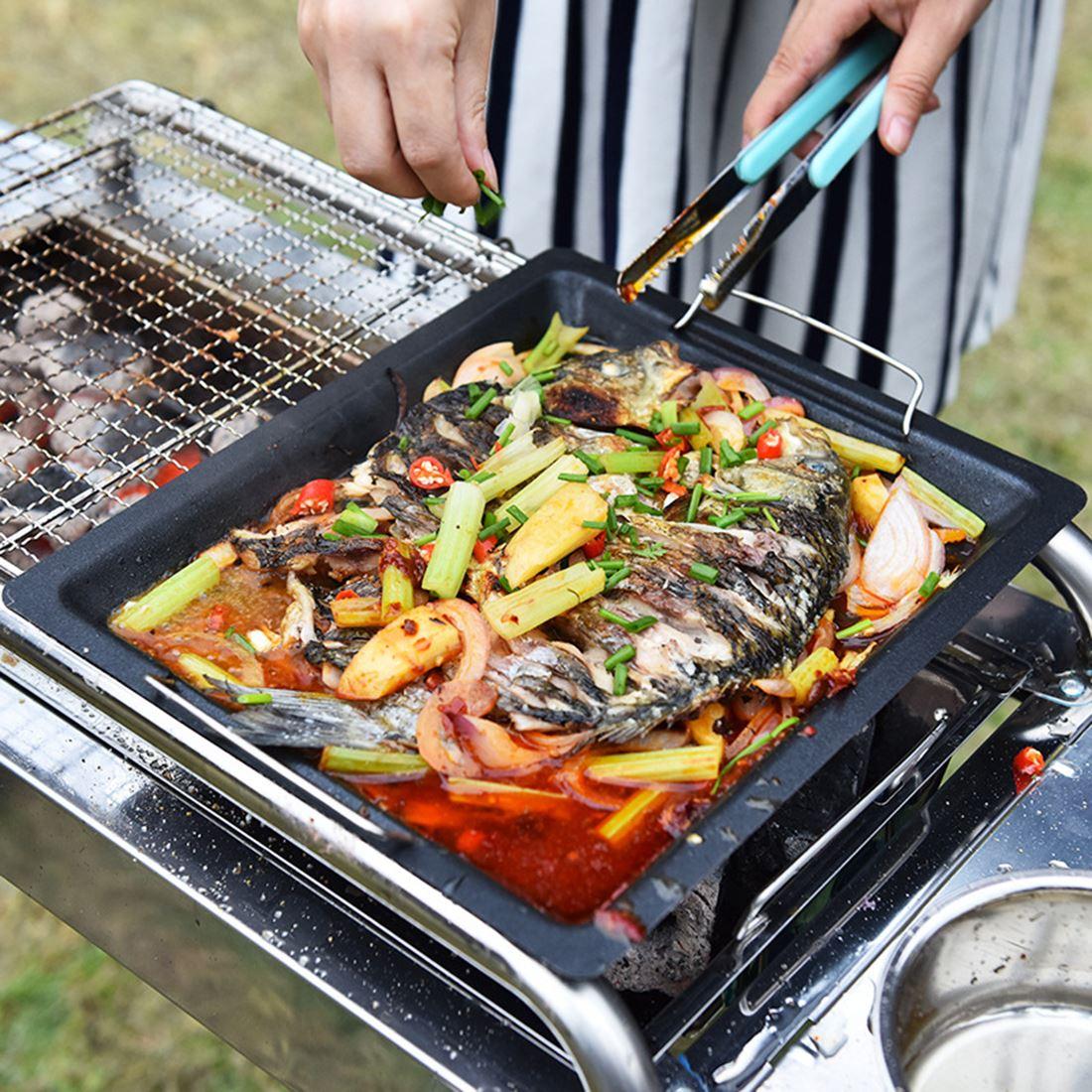 30x25cm churrasco frigideira grill pan antiaderente grill panelas para cozinha cozinhar churrasco coreano bbq grill placa não queimado-preto