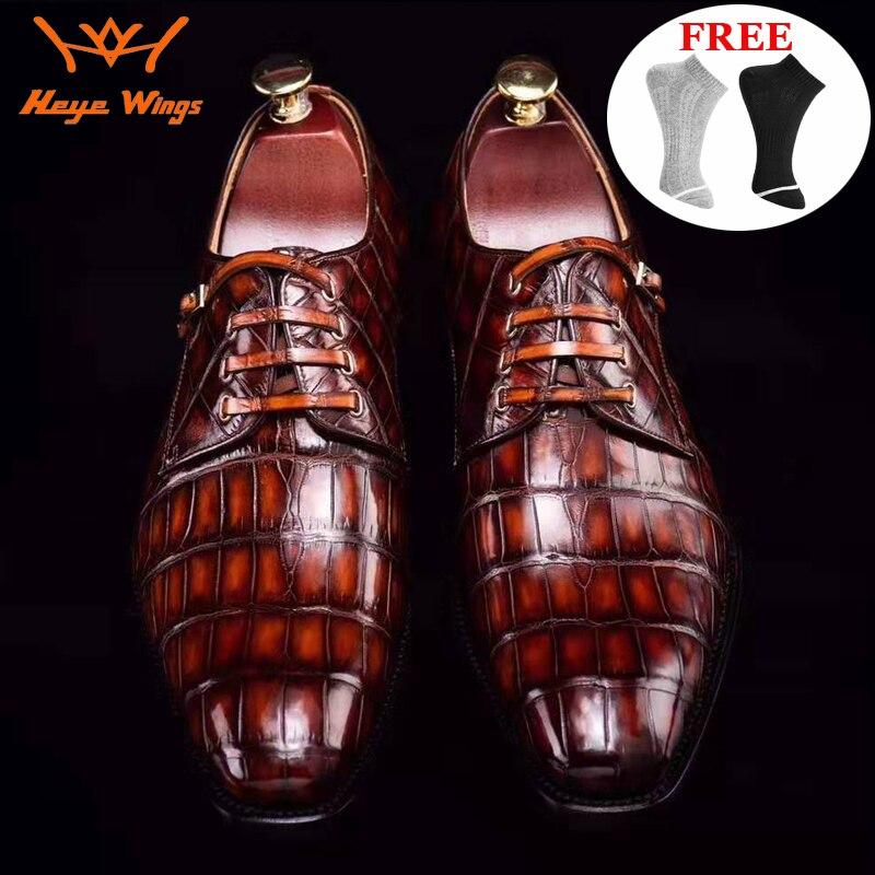 العلامة التجارية الفاخرة جودة جلد التمساح الرجال جوديير الأحذية الرسمية اليد مصقول رجال الأعمال اللباس أحذية