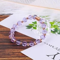 bofee charm women jewelry purple crystal chakra bracelet bangle yoga mala personalized elastic wristband handmade chain gift