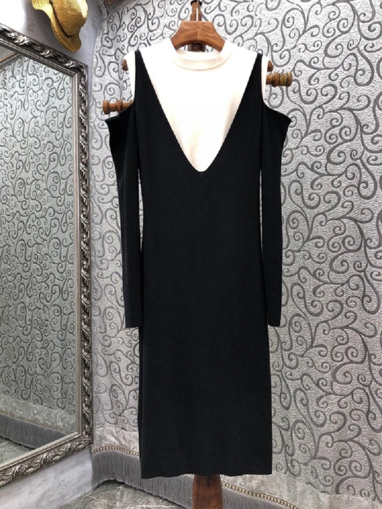 Knitted Dress 2021 Autumn Winter Fashion Sweater Dress High Quality Womne Sexy Cold Shoulder White Black Color Block Dress