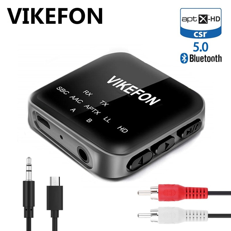 Bluetooth 5.0 receptor transmissor aptx hd ll 3.5 aux rca adaptador de áudio sem fio com microfone para carro pc tv alto-falante par 2 fone de ouvido