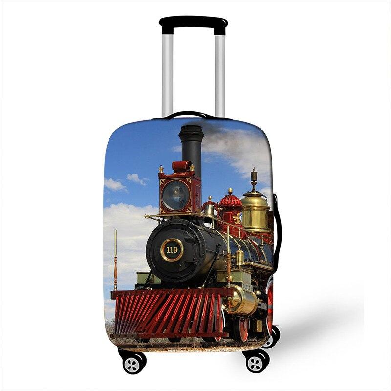 Trem a vapor locomotiva impressão bagagem capa elástica trole de viagem caso cobre anit-poeira mala capa para 18-32 polegada