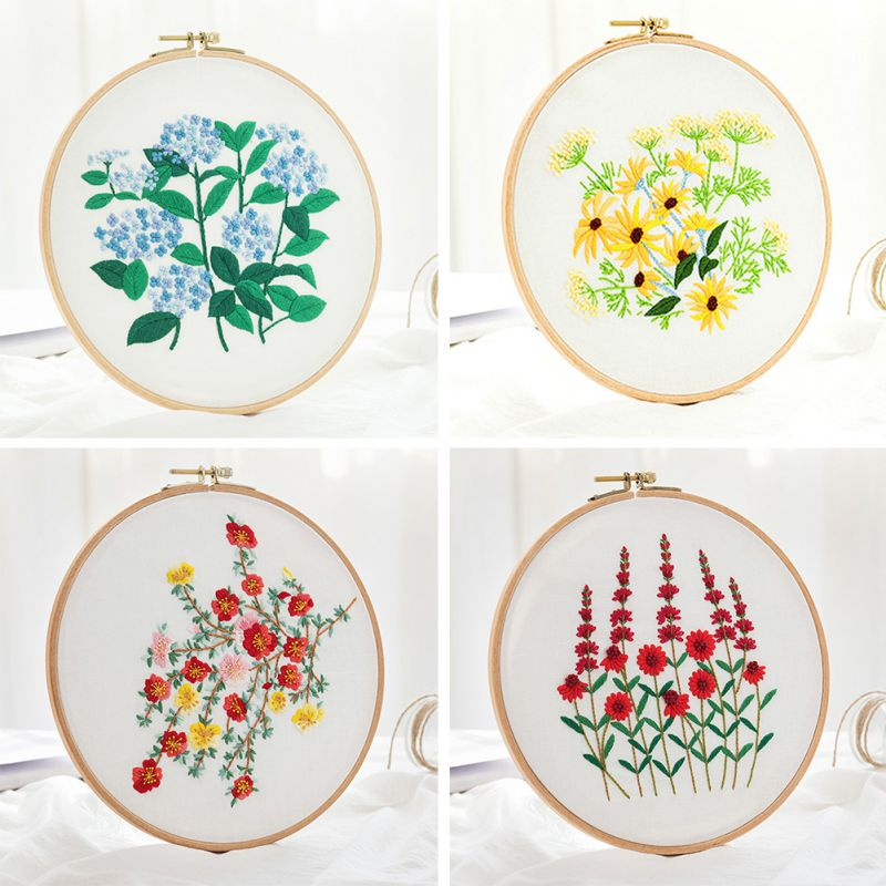 Kit de bordado artesanal patrón de flores de punto de cruz adecuado para principiantes bordado de tela de hilo de aguja de dibujo
