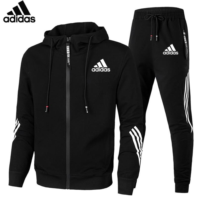 Adidas-casual suit winter new brand stitching jogger sportswear zipper hoodie + pants 2PC set of men