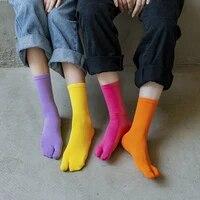 high quality combed cotton split toe socks candy color unisex comfortable two toed socks japanese harajuku men women tabi socks