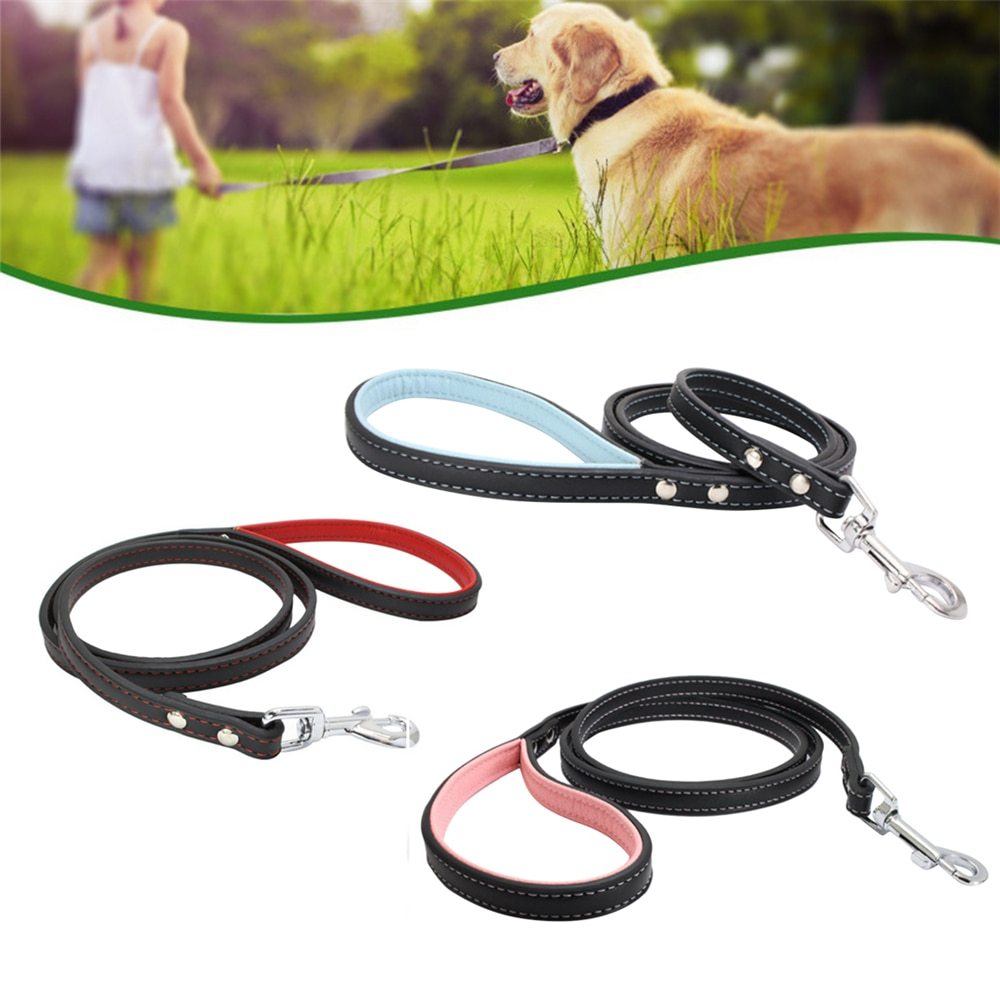 1.2M Pu Leather Dog Leash Durable Outdoor Walking Training Lead Belt for Small Medium Dogs Cat Harness Collar Leash Strap Rope
