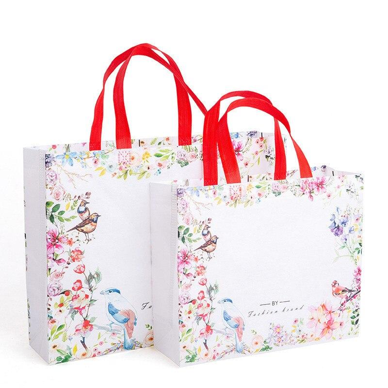 Bolsa de tela no tejida plegable con flores idílico, bolsa de compra reutilizable, bolsa de viaje para mujer, bolso de almacenamiento, bandolera de moda