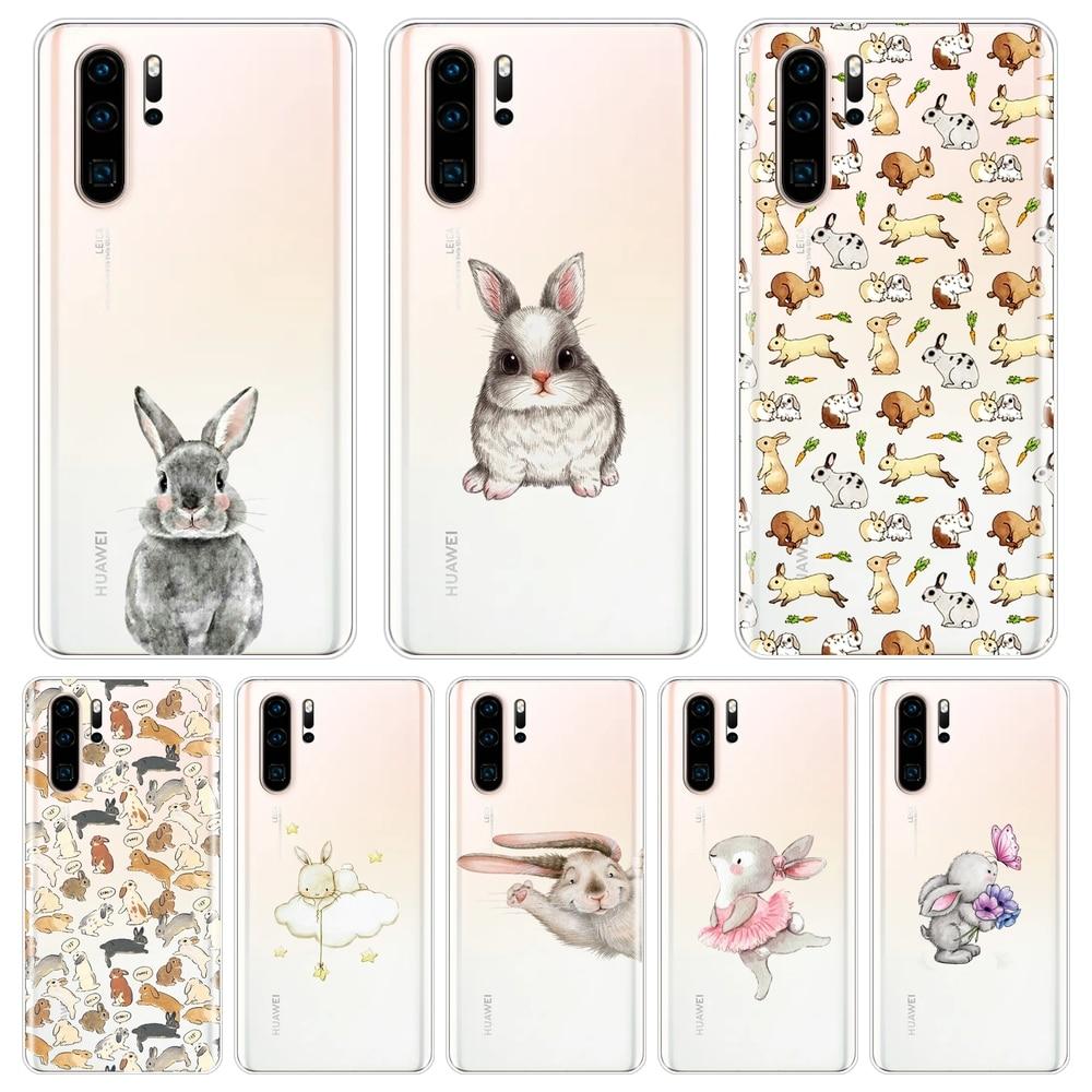 Para Huawei P20 Lite P Smart Plus 2019, funda de silicona con conejo Kawaii, funda trasera suave para Huawei P30 Lite Pro P, funda para teléfono inteligente Z
