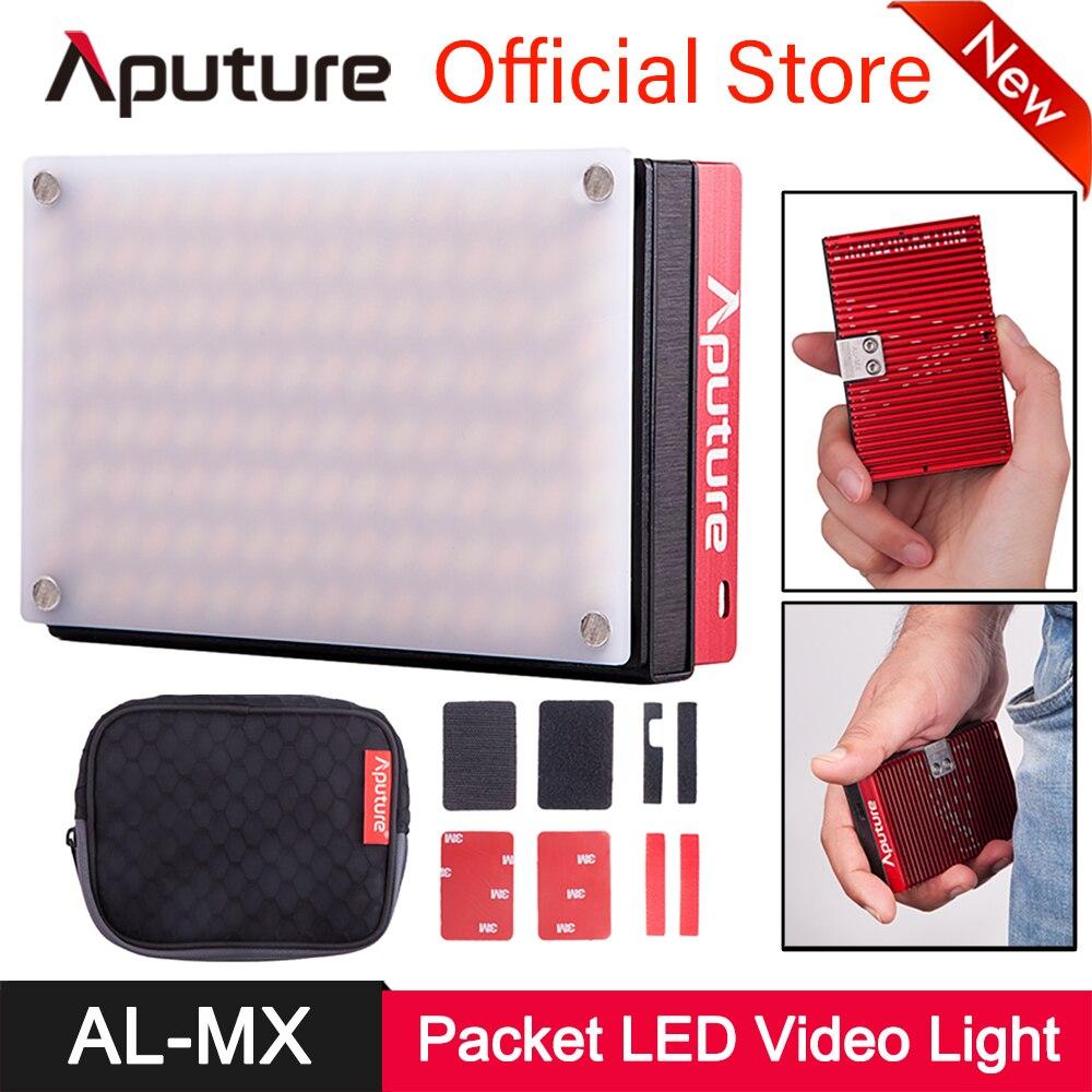 Aputure AL-MX Luz de vídeo recargable tamaño de bolsillo 128 SMD LED Bicolor 2800 K-6500 K CRI TLCI 95 + en iluminación de fotografía de la cámara