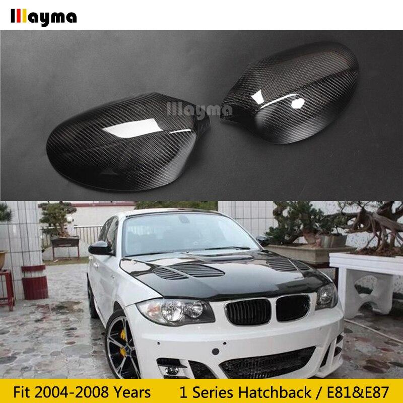 Cubierta de espejo de fibra de carbono para BMW 1 Series Hatchback 116i 120i 130i 135i 2004-2008 Año E81 E87 tapa de espejo trasero de coche stick-on