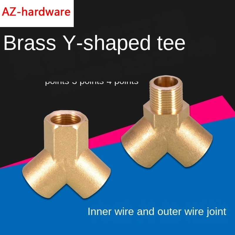 1/4IN 3/8IN 1/2IN Y-type Tee Inside and Outside Three Outer Wire Copper Joints One Point Two Way Water Separator