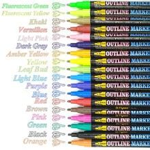 12/18Pcs Double Lines Art Marker contorno penna Metallic Glitter colori Marker Scrapbooking disegno cancelleria per regalo di natale