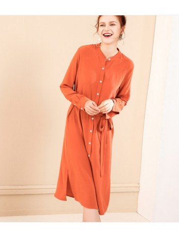 30mm grueso vestido de camisa de seda de peso pesado crepe de Chine 100% de seda vestido cortaviento femenino 2020