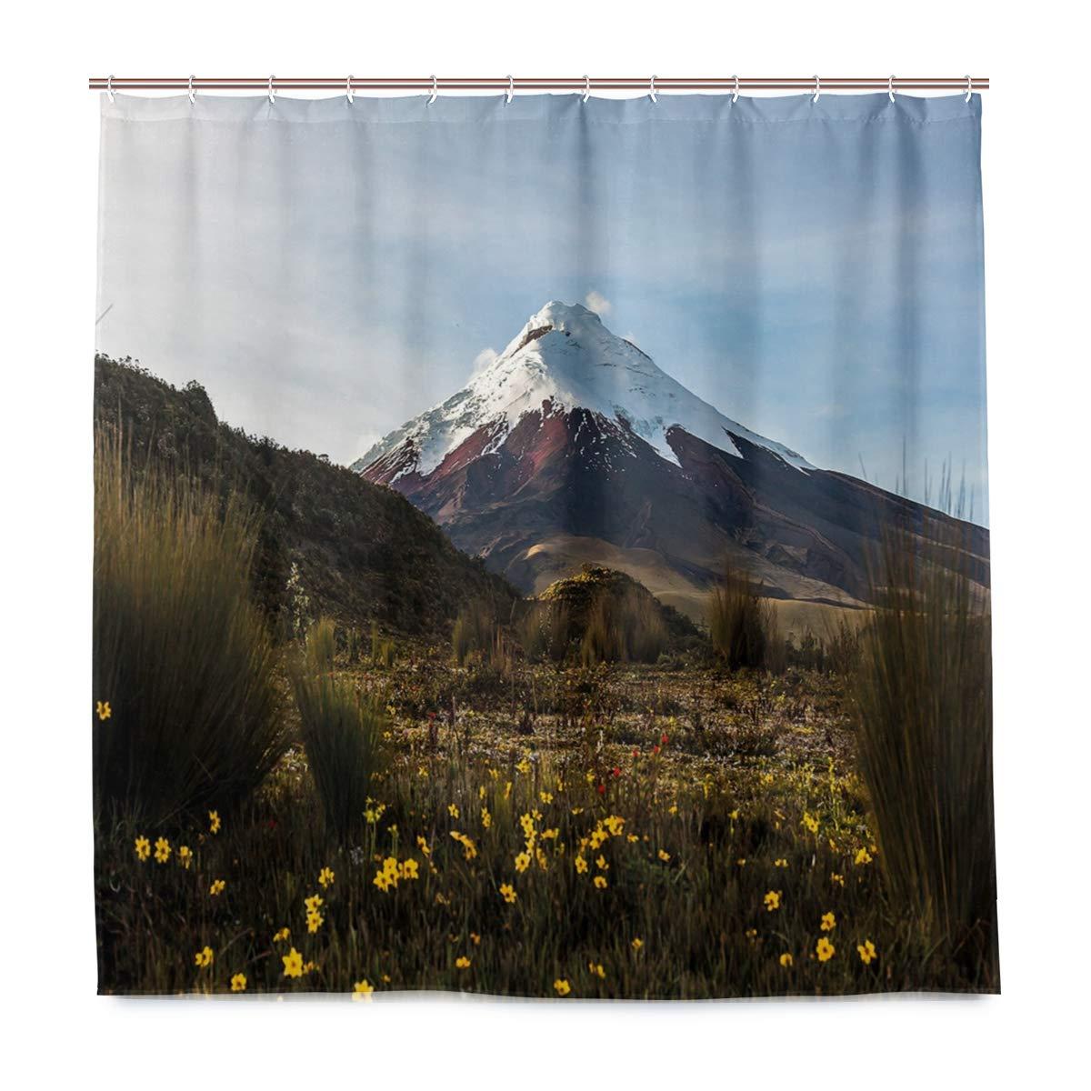 Rideau de douche Unique Cotopaxi volcan à laube marcher à travers la nature sauvage equateur écologique avec 12 crochets dans la salle de bain W66