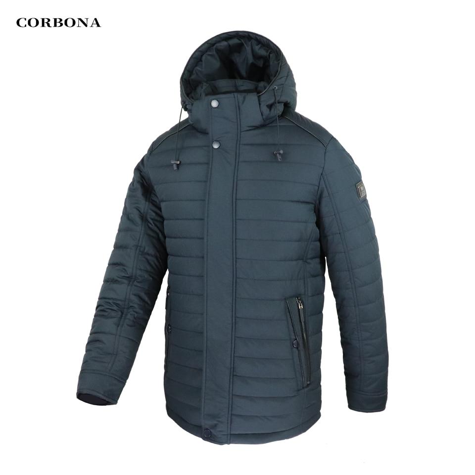 CORBONA 2021 Keep Warm Thicken Mens Winter Windproof Coat Fur Collar High Quality Cotton Lining Dark Hooded Male Jacket Parka