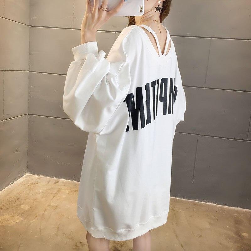 M-2XL Женский свитшот размера плюс, дизайн с v-образным вырезом, 3 цвета, весна-осень, крутая японская повседневная одежда, женские умные рубашк...