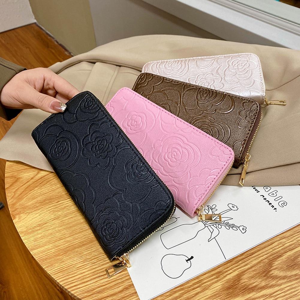 Fashion Women Camellia Embossing Long Wallet Purse Zipper Clutch Evening Bag PU Leather Small Card H