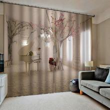 Cortinas opacas de lujo que imprimen la cortina del dormitorio de la sala de estar cortinas de decoración Interior moderna del hogar