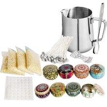 Kit de fabrication de bougies avec Pot de fusion mèches de bougie autocollant de bougie mèches porte-bougie pour bougie à bricoler soi-même faisant