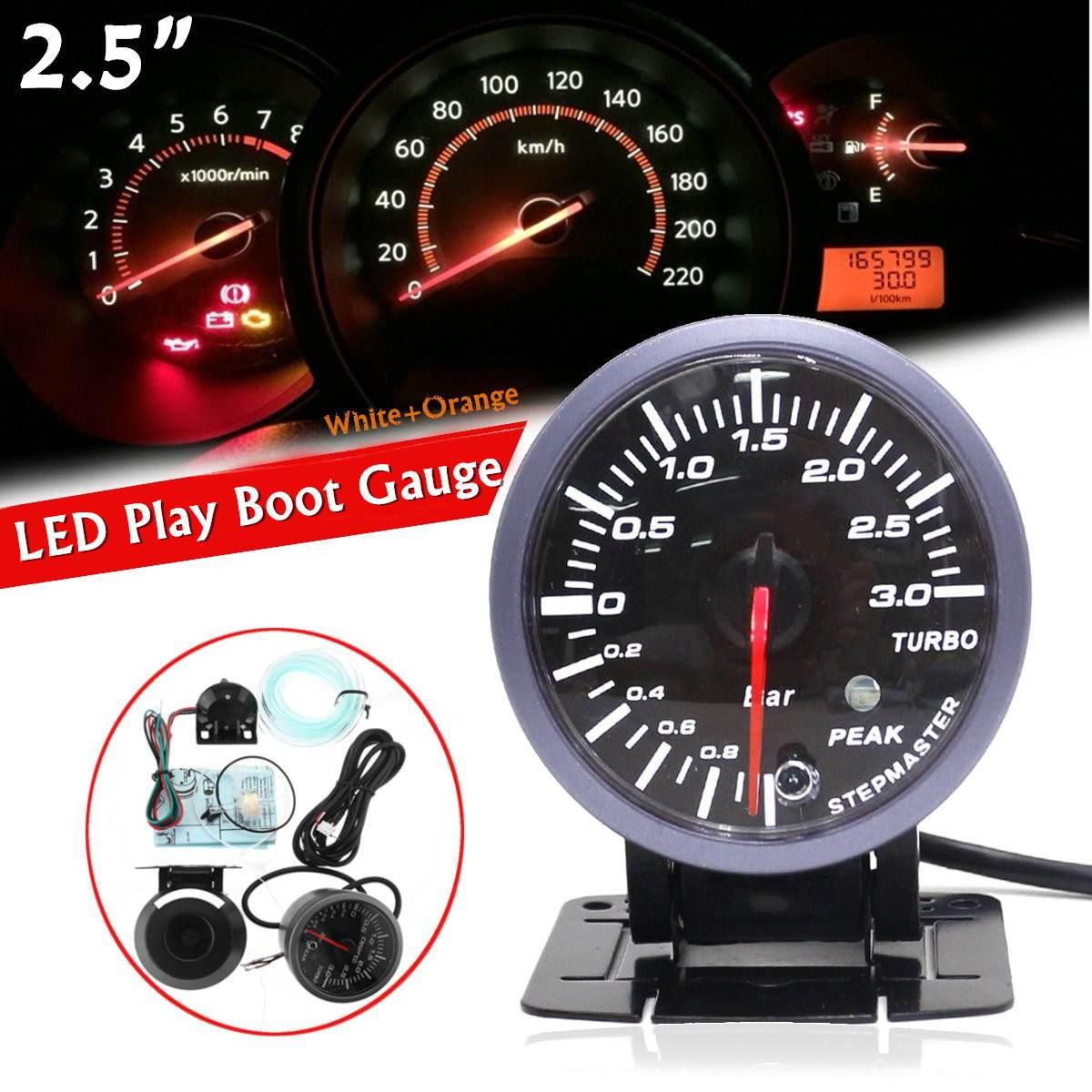 2.5 بوصة 60 مللي متر LED توربو دفعة مقياس ضغط تفريغ الهواء 0-3 بار تيار مستمر 12 فولت العالمي سيارة توربو دفعة متر عدة مع إنذار الذروة