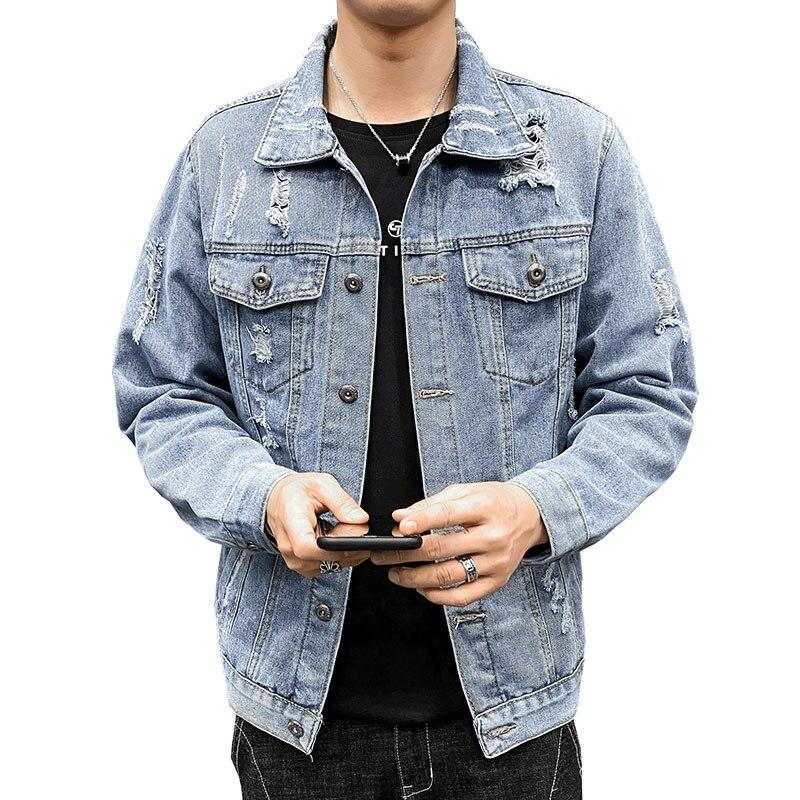 الرجال الأزرق الدنيم سترة 2021 الربيع الرجال الهيب هوب سليم صالح كاوبوي سترة الذكور القطن الشارع الشهير ممزق ملابس خارجية معاطف M-4XL