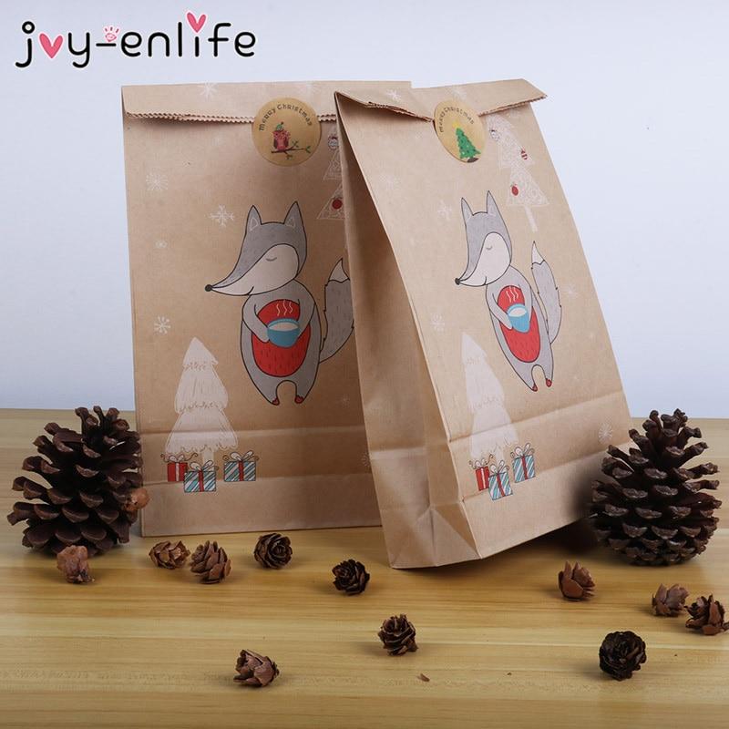 12pçs saco de papel adesivo de natal, adesivos de saco de papel para presente de natal, embalagem de cookies e doces sacos de papel