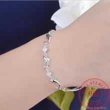 925 Sterling Silber Glück Armbänder Mode Kette Armreif Tier Delphin Zirkonia armreif Frauen damen mädchen Schmuck Geschenk Silber