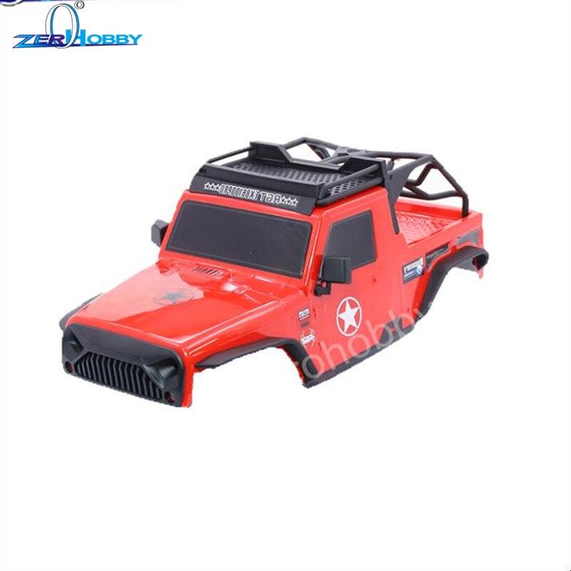 Carcasa de cuerpo RGT PC con estante de techo y barra de luz LED para 110 RC Crawlers Axial SCX10 Redcat 313mm, base de rueda, piezas de coche RC