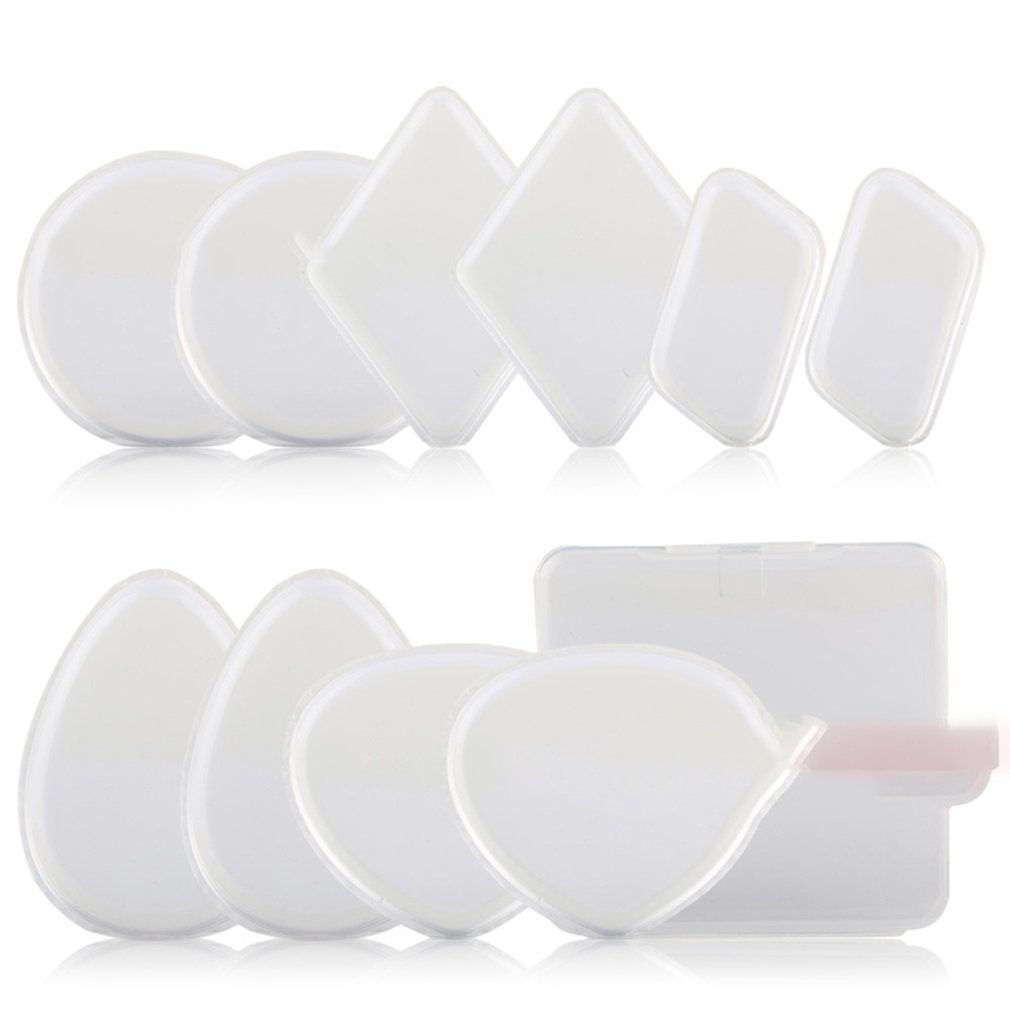 10 Uds. Esponja de silicona transparente herramienta de maquillaje