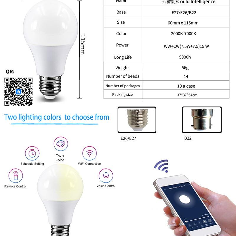 Smart Wifi Smart Life Bulb Dimming Light Bulb 15W Cold&Warm Smart Light Bulb Voice Control Work With Alexa Google Smart Home