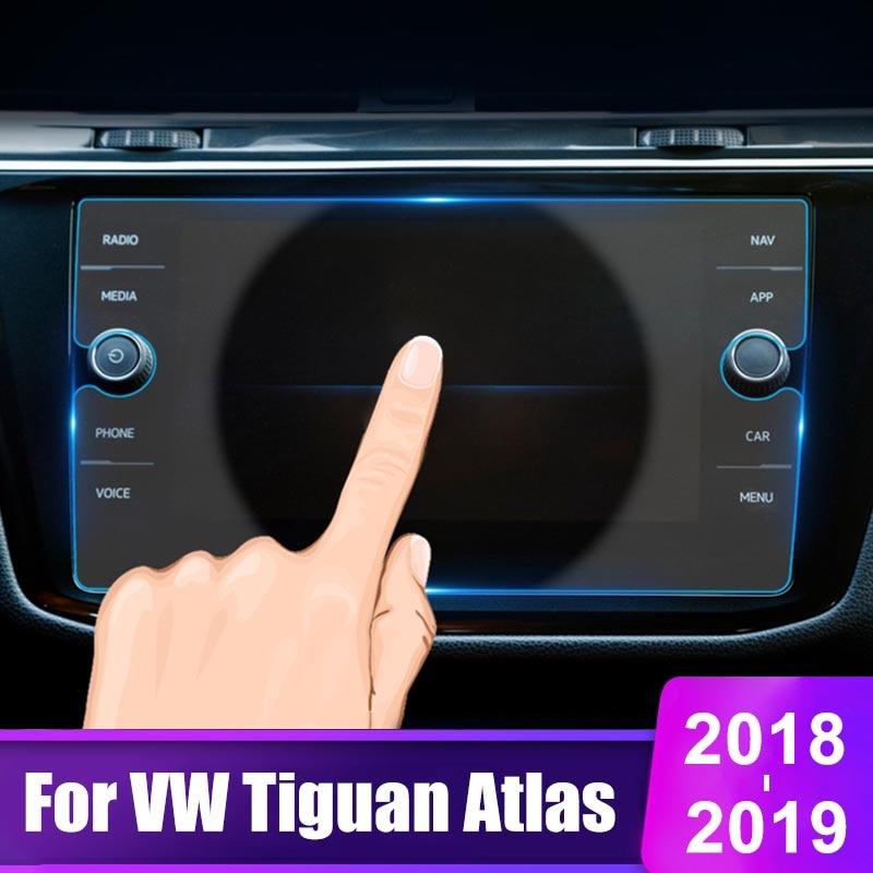 8 pulgadas para Volkswagen VW Tiguan Atlas 2018 2019 vidrio templado para pantalla de navegación GPS del coche película protectora LCD pegatina protectora