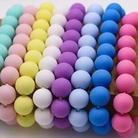 sunrony 50pcs 15mm silicone beads baby teether diy pacifier chain bracelet bpa free care molar necklace accessories kids toys