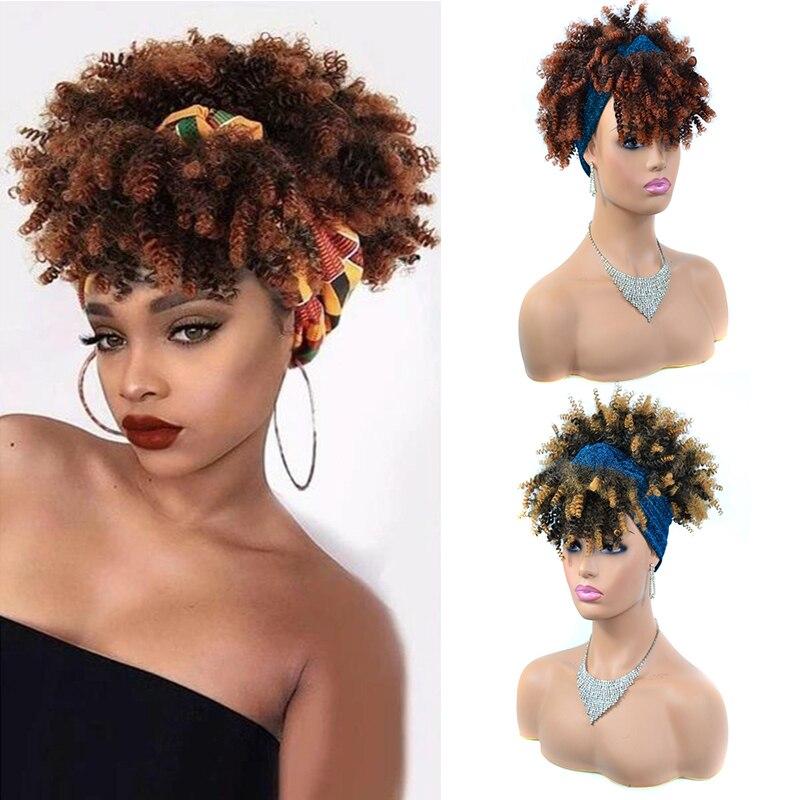 Short Afro Kinky Curly Turban Wrap Wigs for Black Women Ombre Drawstring Headband Wig 10
