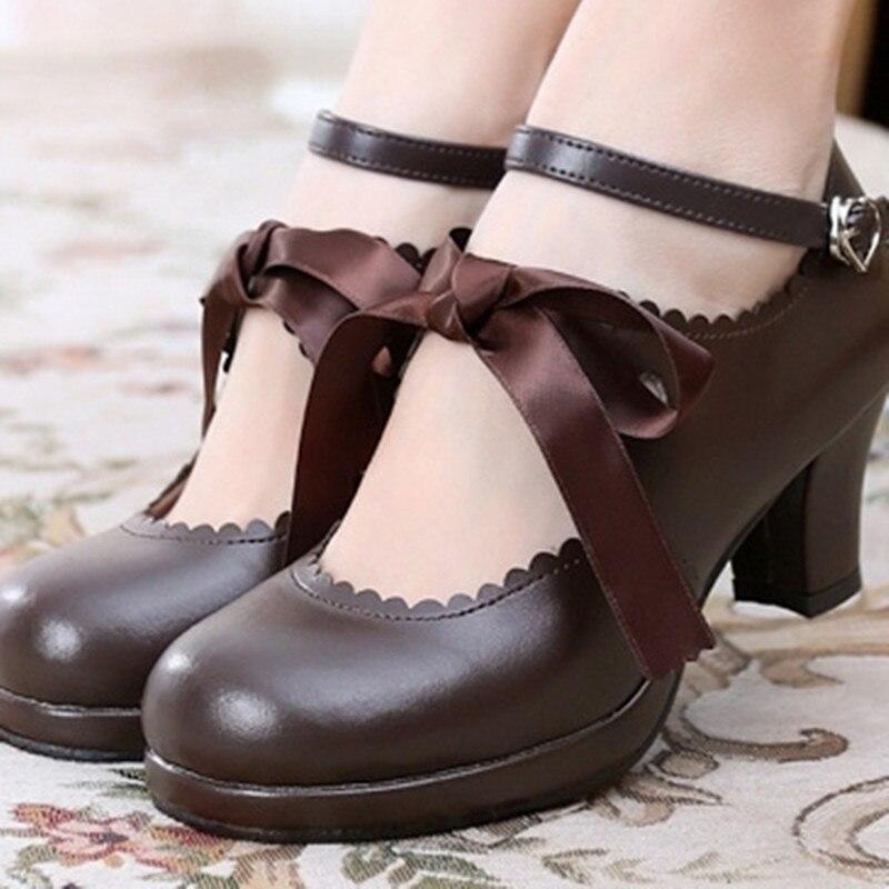 Lolita sapatos jk strappy salto alto preto feminino bowknot princesa kawaii menina sapatos femininos vintage doce kawaii menina chá festa cos