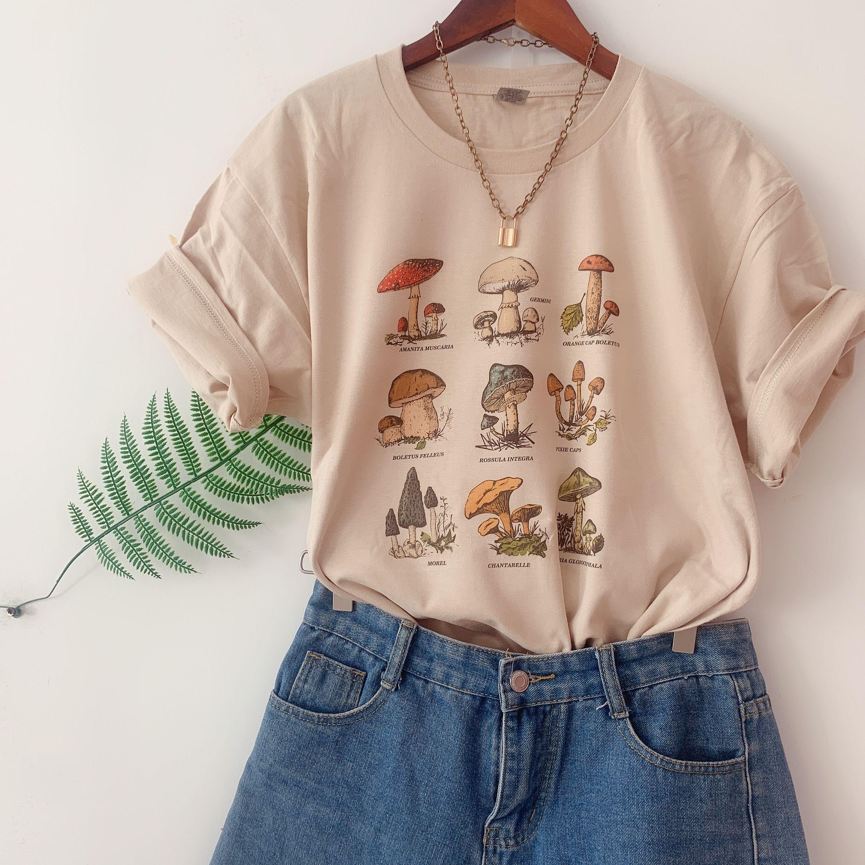 Vip hjn moda do vintage cogumelo impressão especial oversized t camisa egirl grunge estético streetwear gráfico camisetas femininas