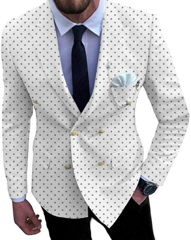 Suits Men 2019 Stylish Double Breasted V Neck Patterned Peaked Collar Tuxedo White Suit (Jacket+Pants)