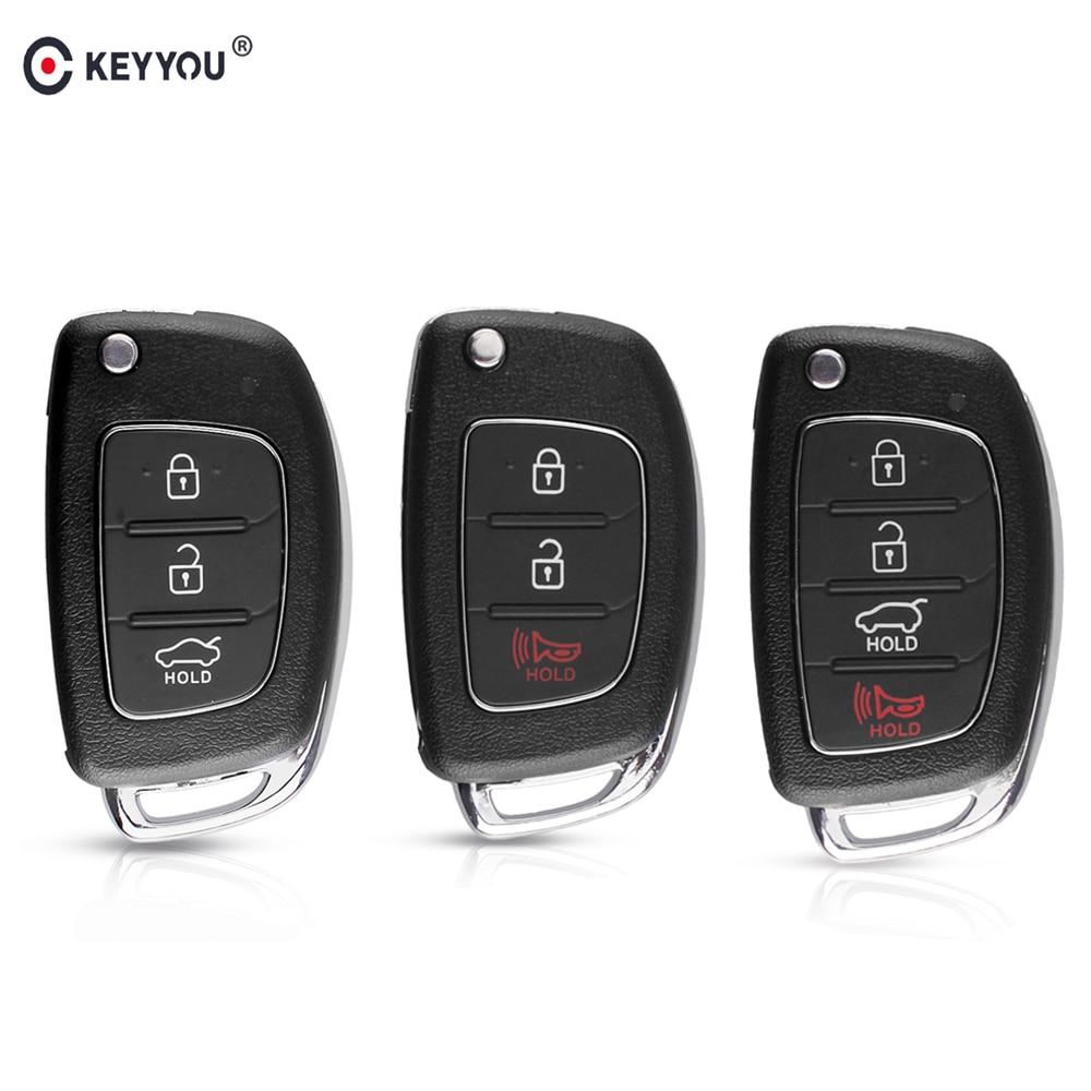 Carcasa de la llave a distancia del coche del tirón de KEYYOU 20 piezas para Hyundai HB20 ELANTRA Santa Fe IX35 IX45 I40 Accent 3/4 botones llavero plegable