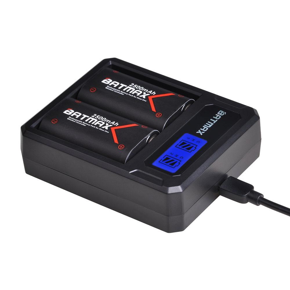 Batmax 2 uds de Xbox para una batería de 2500mAh de la batería y de LCD cargador Dual USB para Xbox uno/Xbox One S/Xbox One X/Xbox One Elit