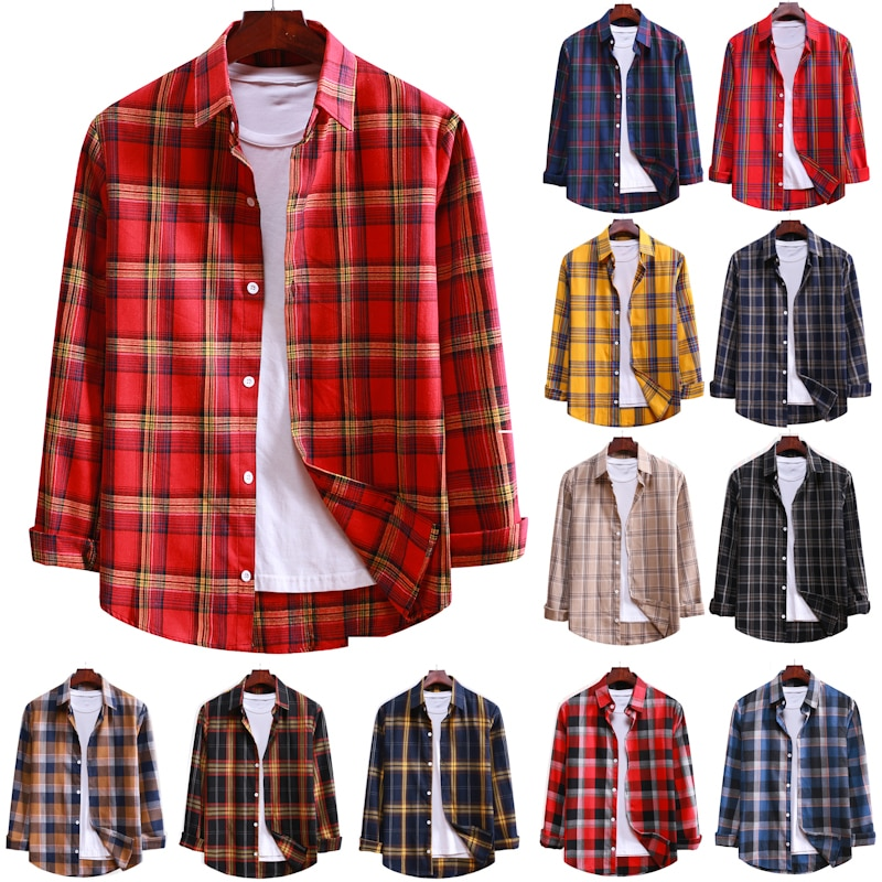 An& Cotton Flannel Men's Plaid Shirt Slim Fit Spring Autumn Male Brand Casual Long Sleeved Shirts Soft Comfortable