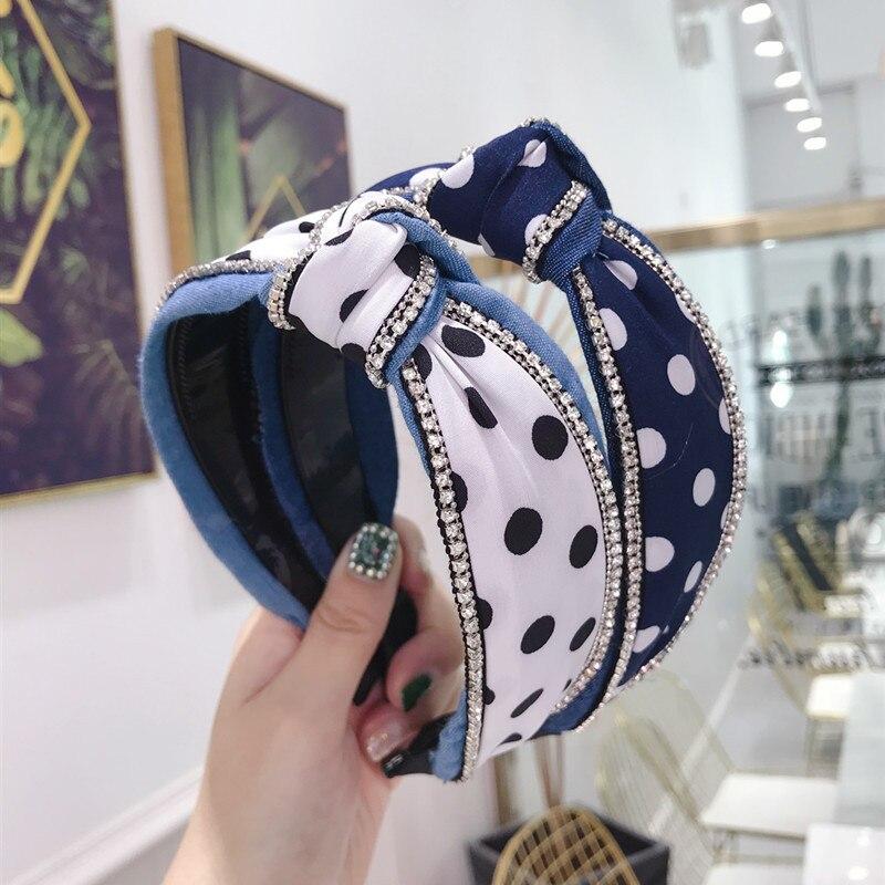 2020 vintage denim dot rhinestone bezel faixa de cabelo feminino headbands nó turbante hairband meninas acessórios para o cabelo hoop grampos de cabelo