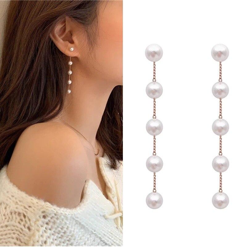 Korean Fashion Simple Temperament Long Pearl Chain Earrings S925 Silver Needle Tassel Plating kc Women Jewelry