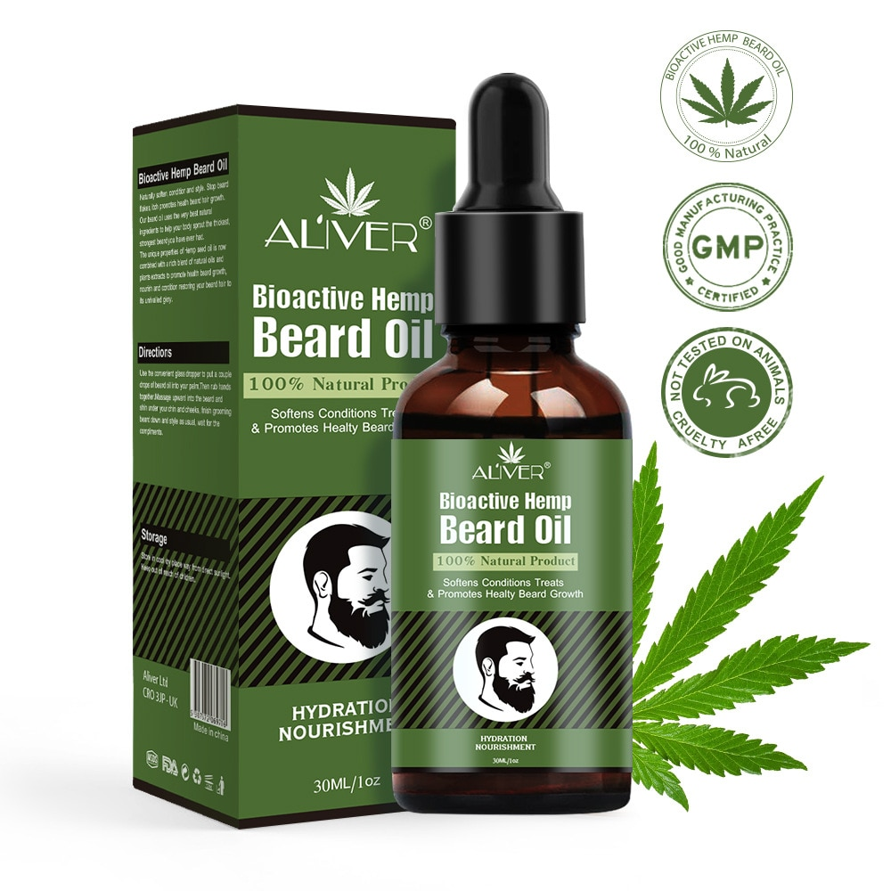 Aliver Hemp Beard Oil Repair Oil Natural Organic Enhancer Facial  Moustache Nutrition Care Tool Beard Anti-hair Loss Products недорого