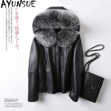 AYUNSUE Real Sheepskin Coat Female Fox Fur Collar Down Jackets Winter Jacket Women Genuine Leather Jacket Chaqueta Mujer MY3943